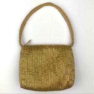 La Regale Gold Beaded Handbag Wristlet Clutch Bag